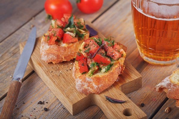bread and bruschetta and beer