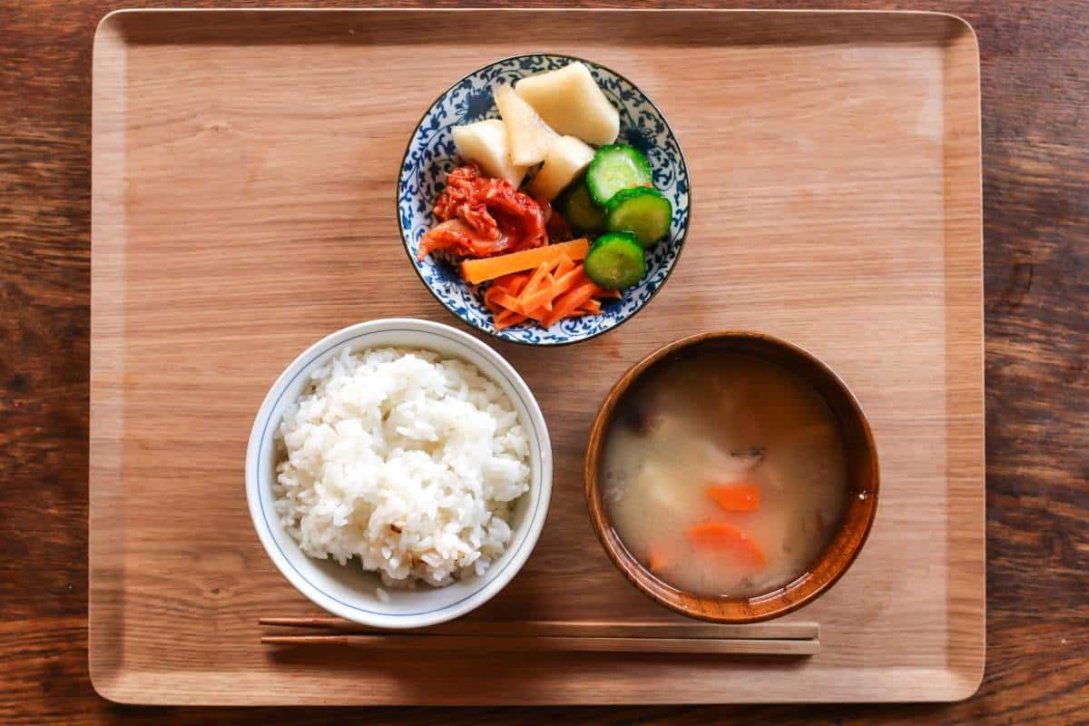 low fat diet with rice and soup