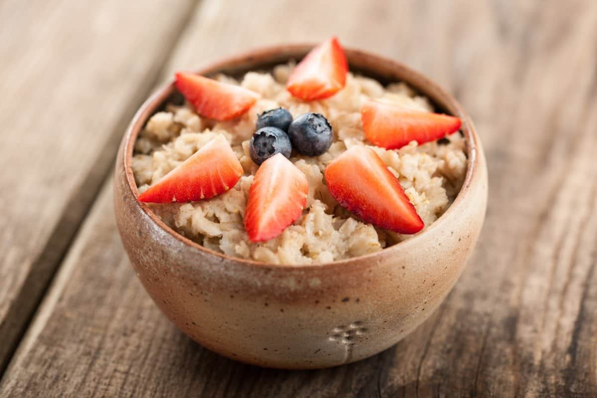 oatmeal with berries on top