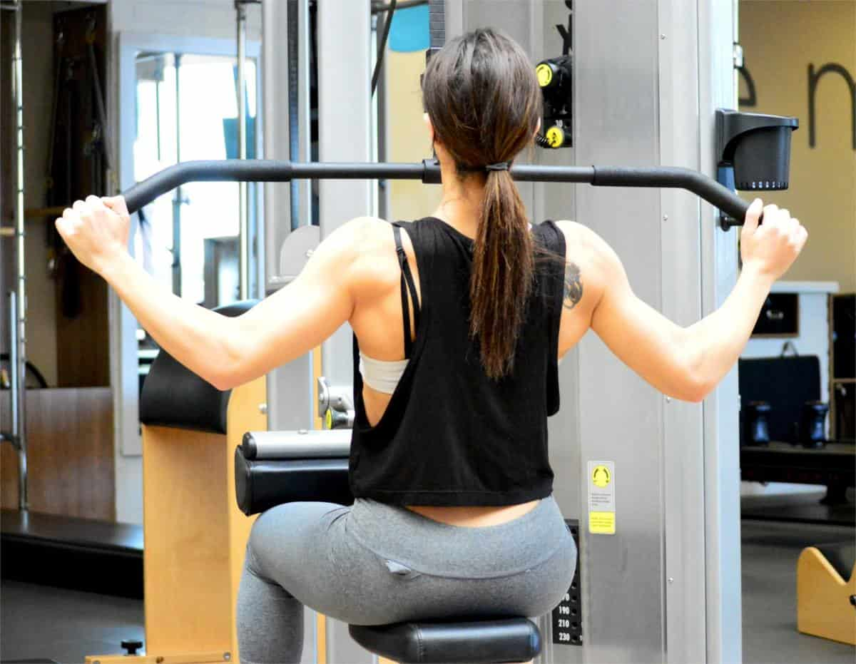woman with toned arms and back