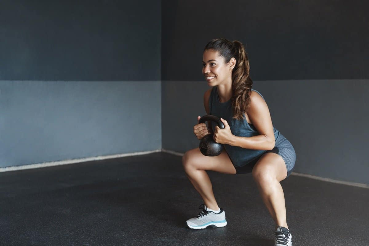 HIIT training with kettlebell