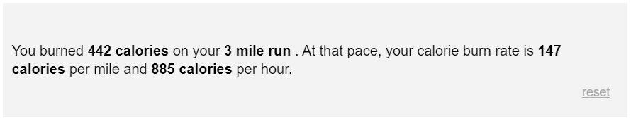 calories burned running 3 miles