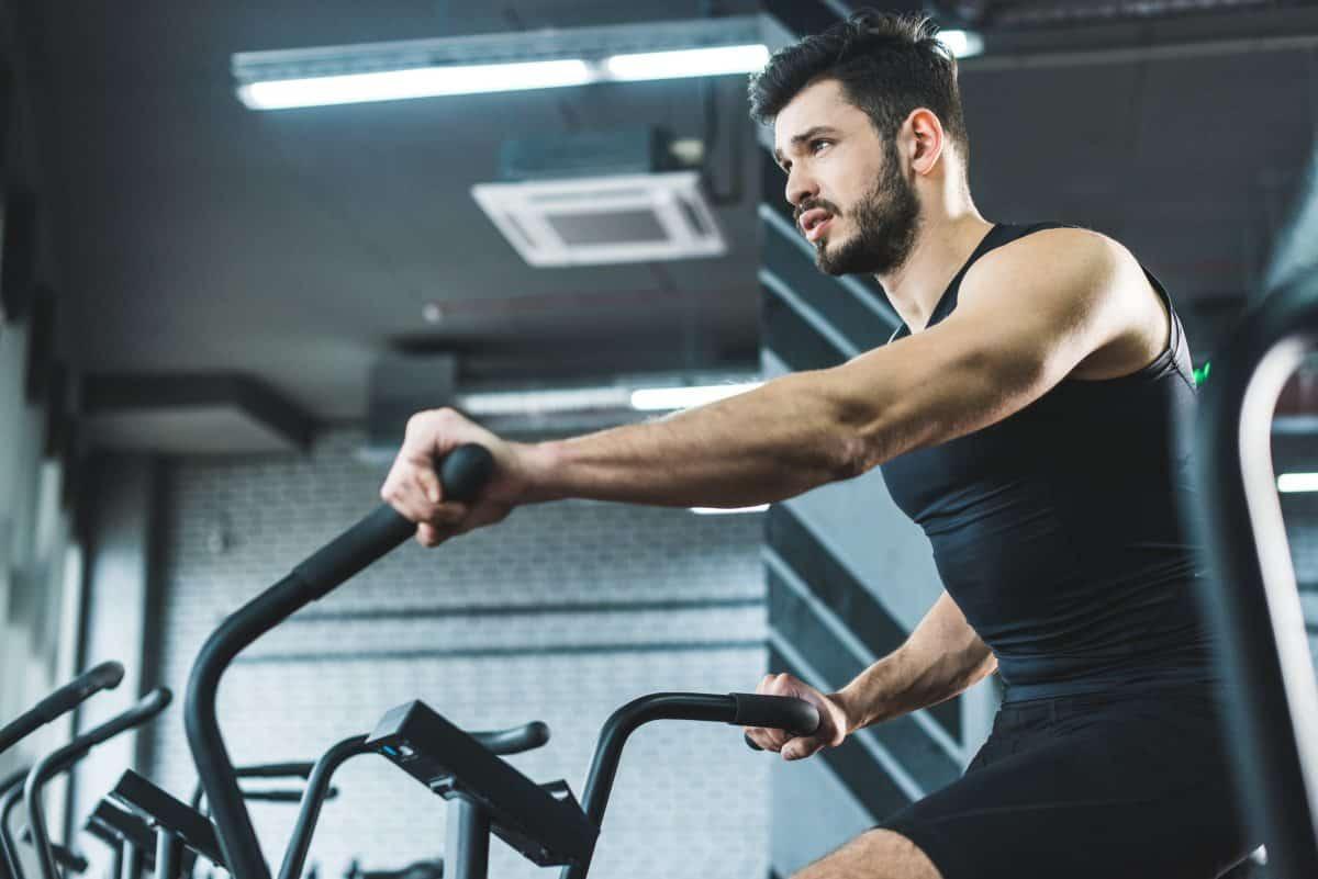 cardio machine training on exercise bike